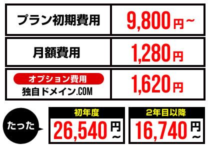 独自ドメインを付けても、初年度たった26,540円~!